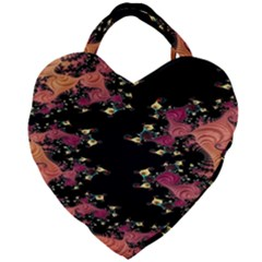 Fractal Fantasy Art Design Swirl Giant Heart Shaped Tote by Samandel