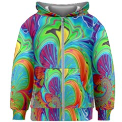 Fractal Art Psychedelic Fantasy Kids Zipper Hoodie Without Drawstring