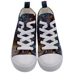Fractal Art Artwork Globular Kid s Mid Top Canvas Sneakers