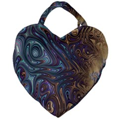 Fractal Art Artwork Globular Giant Heart Shaped Tote by Samandel