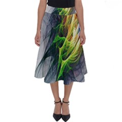Fractal Art Paint Pattern Texture Perfect Length Midi Skirt