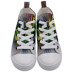 Fractal Art Paint Pattern Texture Kid s Mid Top Canvas Sneakers