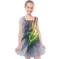 Fractal Art Paint Pattern Texture Kids  Cross Back Dress