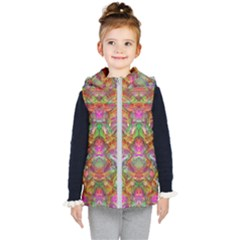 Background Psychedelic Colorful Kid s Hooded Puffer Vest