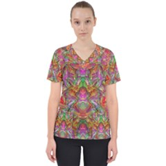 Background Psychedelic Colorful Women s V Neck Scrub Top