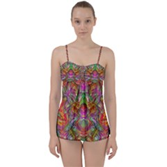 Background Psychedelic Colorful Babydoll Tankini Set