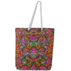 Background Psychedelic Colorful Full Print Rope Handle Tote (large) by Samandel