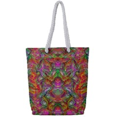 Background Psychedelic Colorful Full Print Rope Handle Tote (small) by Samandel