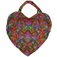 Background Psychedelic Colorful Giant Heart Shaped Tote