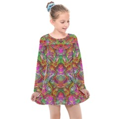 Background Psychedelic Colorful Kids  Long Sleeve Dress