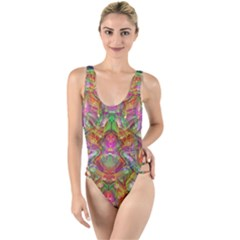 Background Psychedelic Colorful High Leg Strappy Swimsuit