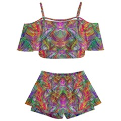 Background Psychedelic Colorful Kids  Off Shoulder Skirt Bikini