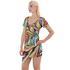 Wallpaper Psychedelic Background Short Sleeve Asymmetric Mini Dress by Samandel