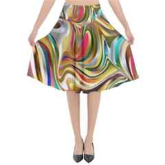 Wallpaper Psychedelic Background Flared Midi Skirt