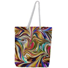 Wallpaper Psychedelic Background Full Print Rope Handle Tote (large) by Samandel