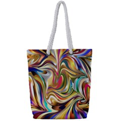 Wallpaper Psychedelic Background Full Print Rope Handle Tote (small) by Samandel