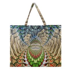Abstract Fractal Magical Zipper Large Tote Bag by Samandel