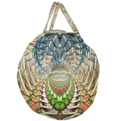 Abstract Fractal Magical Giant Round Zipper Tote by Samandel