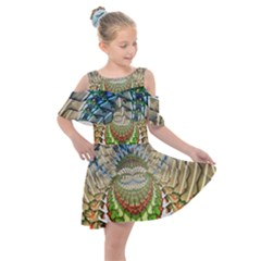 Abstract Fractal Magical Kids  Shoulder Cutout Chiffon Dress
