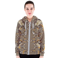 Abstract Digital Geometric Pattern Women s Zipper Hoodie
