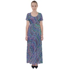 Psychedelic Background High Waist Short Sleeve Maxi Dress