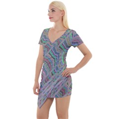 Psychedelic Background Short Sleeve Asymmetric Mini Dress by Samandel