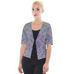 Psychedelic Background Cropped Button Cardigan