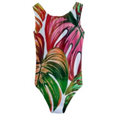 Pretty Leaves D Kids  Cut Out Back One Piece Swimsuit by MoreColorsinLife