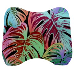 Pretty Leaves A Velour Head Support Cushion by MoreColorsinLife