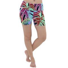 Pretty Leaves A Lightweight Velour Yoga Shorts