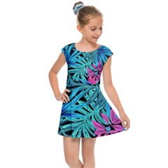 Pretty Leaves 4a Kids Cap Sleeve Dress by MoreColorsinLife