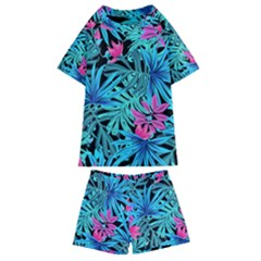 Pretty Leaves 4a Kids  Swim Tee And Shorts Set by MoreColorsinLife