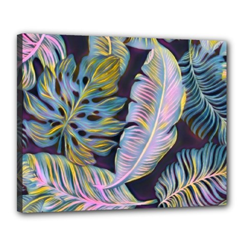 Pretty Leaves 2b Canvas 20  X 16  (stretched) by MoreColorsinLife