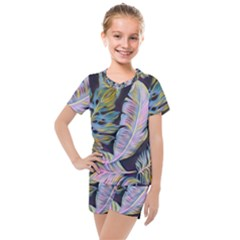 Pretty Leaves 2b Kids  Mesh Tee And Shorts Set