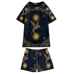 Wonderful Hummingbird With Stars Kids  Swim Tee And Shorts Set
