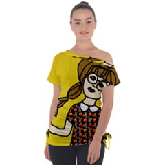 Girl With Popsicle Yellow Background Tie Up Tee