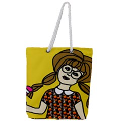 Girl With Popsicle Yellow Background Full Print Rope Handle Tote (large) by snowwhitegirl