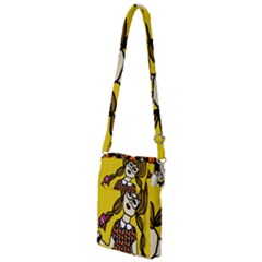 Girl With Popsicle Yellow Background Multi Function Travel Bag