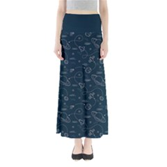 Retro Space Pattern Full Length Maxi Skirt