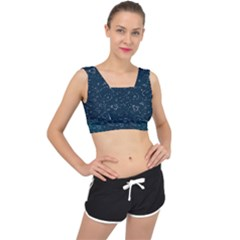 Retro Space Pattern V Back Sports Bra
