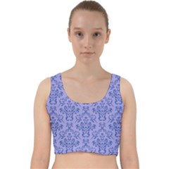 Victorian Blue Ornamental Velvet Racer Back Crop Top