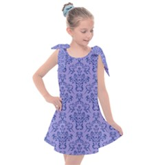 Victorian Blue Ornamental Kids  Tie Up Tunic Dress