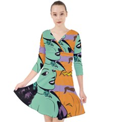 Zombie Retro Girl Quarter Sleeve Front Wrap Dress