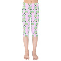 Green Alien Monster Pattern Pink Kids  Capri Leggings  by snowwhitegirl