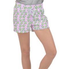 Green Alien Monster Pattern Pink Women s Velour Lounge Shorts