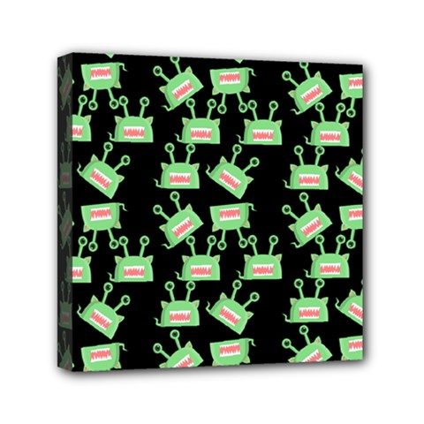 Green Alien Monster Pattern Black Mini Canvas 6  X 6  (stretched)