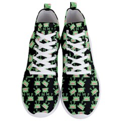 Green Alien Monster Pattern Black Men s Lightweight High Top Sneakers