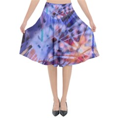 Coffee Cup Abstract Flared Midi Skirt