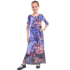 Coffee Cup Abstract Kids  Quarter Sleeve Maxi Dress by bloomingvinedesign