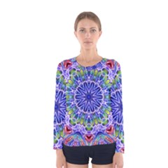 Blue Red White Kaleidoscope 121 Women s Long Sleeve Tee by bloomingvinedesign